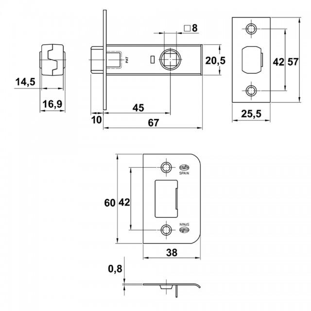 DOOR LATCH LOCK 45 / SPLINDLE 8x8